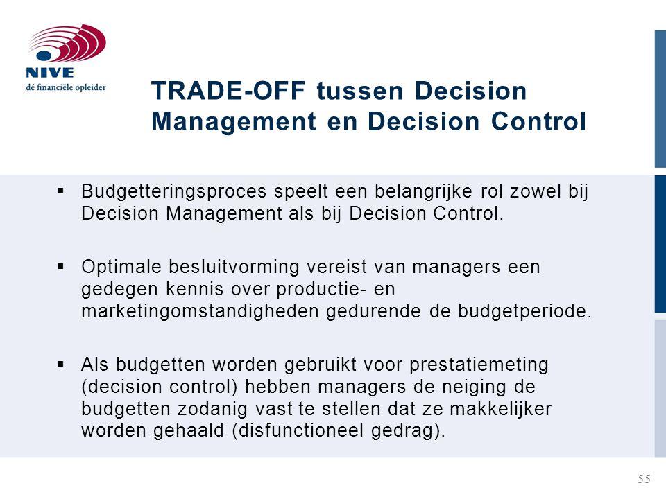 TRADE-OFF tussen Decision Management en Decision Control  Budgetteringsproces speelt een belangrijke rol zowel bij Decision Management als bij Decision Control.