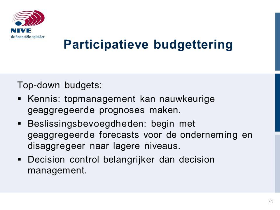 Participatieve budgettering Top-down budgets:  Kennis: topmanagement kan nauwkeurige geaggregeerde prognoses maken.