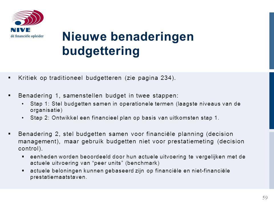 Nieuwe benaderingen budgettering  Kritiek op traditioneel budgetteren (zie pagina 234).