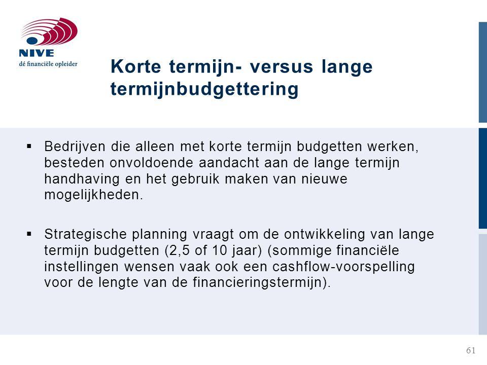 Korte termijn- versus lange termijnbudgettering  Bedrijven die alleen met korte termijn budgetten werken, besteden onvoldoende aandacht aan de lange termijn handhaving en het gebruik maken van nieuwe mogelijkheden.