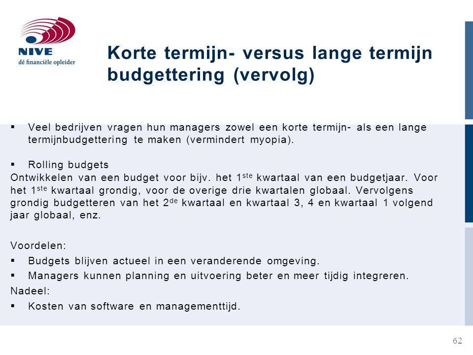 Korte termijn- versus lange termijn budgettering (vervolg)  Veel bedrijven vragen hun managers zowel een korte termijn- als een lange termijnbudgettering te maken (vermindert myopia).