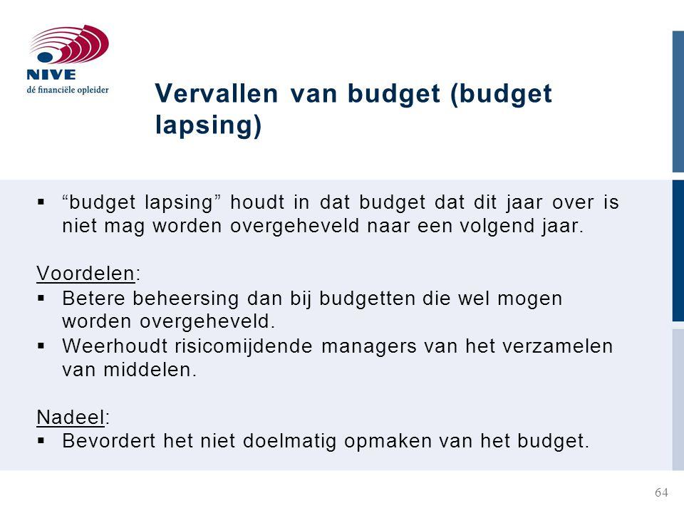 Vervallen van budget (budget lapsing)  budget lapsing houdt in dat budget dat dit jaar over is niet mag worden overgeheveld naar een volgend jaar.