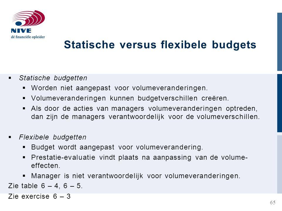 Statische versus flexibele budgets  Statische budgetten  Worden niet aangepast voor volumeveranderingen.