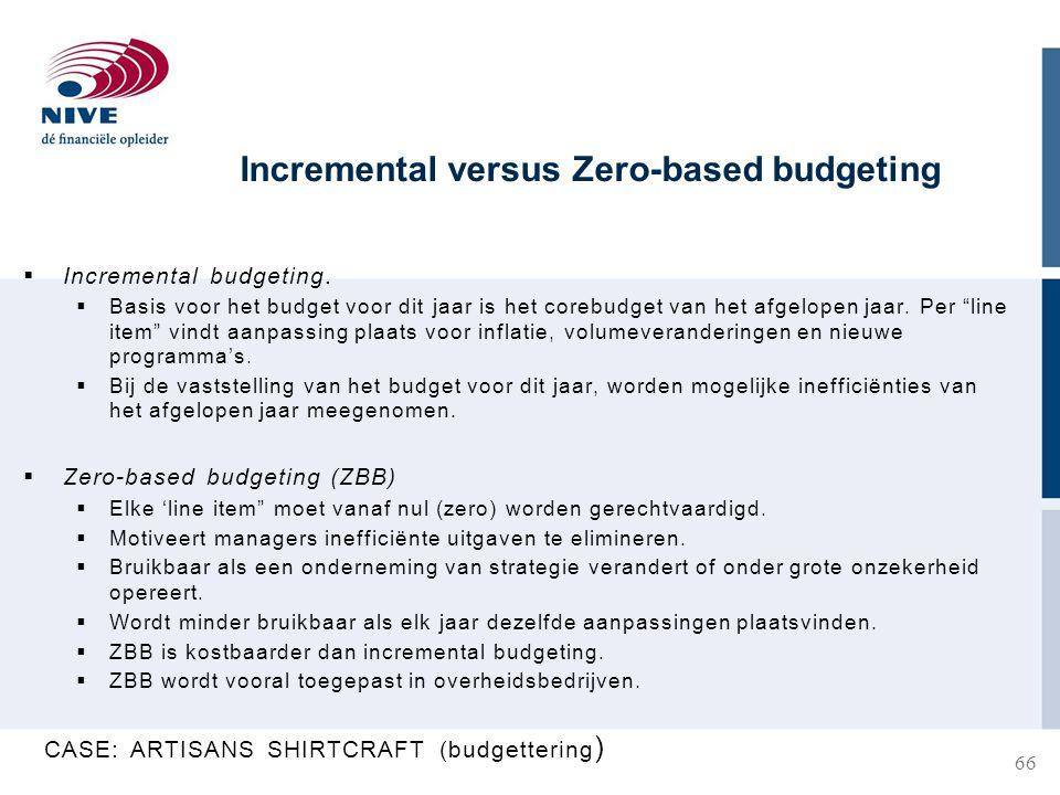Incremental versus Zero-based budgeting  Incremental budgeting.