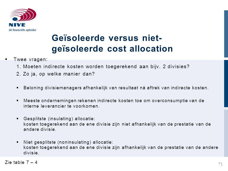 Geïsoleerde versus niet- geïsoleerde cost allocation  Twee vragen: 1.
