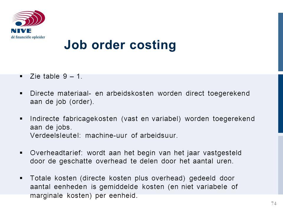 Job order costing  Zie table 9 – 1.
