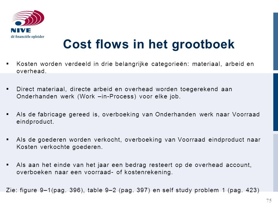 Cost flows in het grootboek  Kosten worden verdeeld in drie belangrijke categorieën: materiaal, arbeid en overhead.