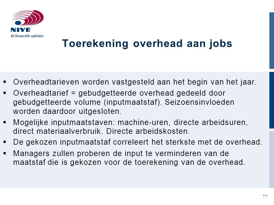Toerekening overhead aan jobs  Overheadtarieven worden vastgesteld aan het begin van het jaar.