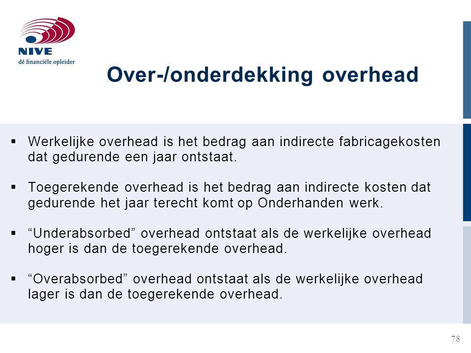 Over-/onderdekking overhead  Werkelijke overhead is het bedrag aan indirecte fabricagekosten dat gedurende een jaar ontstaat.