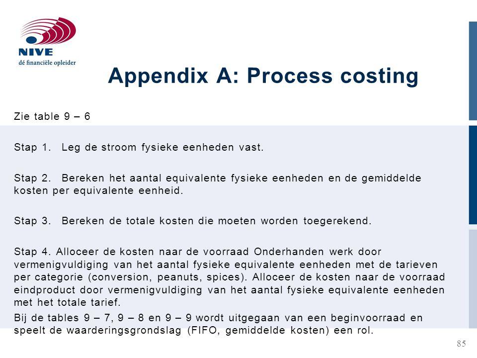 Appendix A: Process costing Zie table 9 – 6 Stap 1.Leg de stroom fysieke eenheden vast.