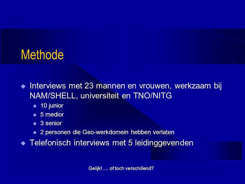 Gelijk!.... of toch verschillend? Methode  Interviews met 23 mannen en vrouwen, werkzaam bij NAM/SHELL, universiteit en TNO/NITG u 10 junior u 5 medi