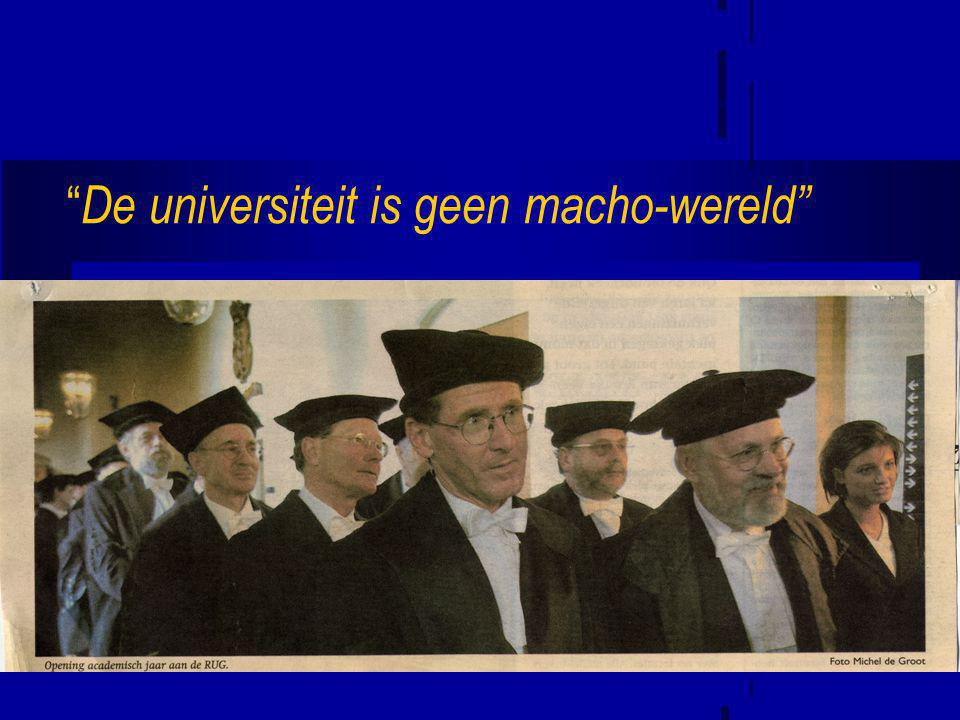 """"""" De universiteit is geen macho-wereld"""""""