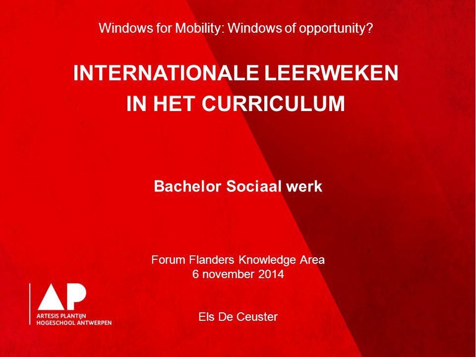 Bachelor Sociaal werk Forum Flanders Knowledge Area 6 november 2014 Els De Ceuster Windows for Mobility: Windows of opportunity? INTERNATIONALE LEERWE