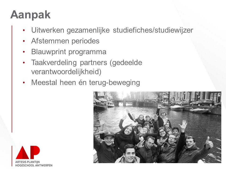 Aanpak Uitwerken gezamenlijke studiefiches/studiewijzer Afstemmen periodes Blauwprint programma Taakverdeling partners (gedeelde verantwoordelijkheid) Meestal heen én terug-beweging
