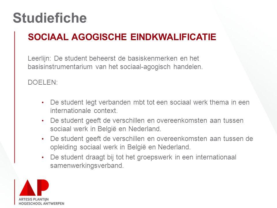 Studiefiche SOCIAAL AGOGISCHE EINDKWALIFICATIE Leerlijn: De student beheerst de basiskenmerken en het basisinstrumentarium van het sociaal-agogisch handelen.