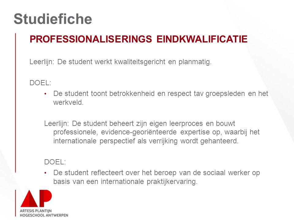 Studiefiche PROFESSIONALISERINGS EINDKWALIFICATIE Leerlijn: De student werkt kwaliteitsgericht en planmatig.