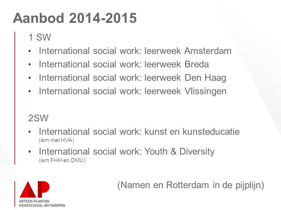 Aanbod 2014-2015 1 SW International social work: leerweek Amsterdam International social work: leerweek Breda International social work: leerweek Den