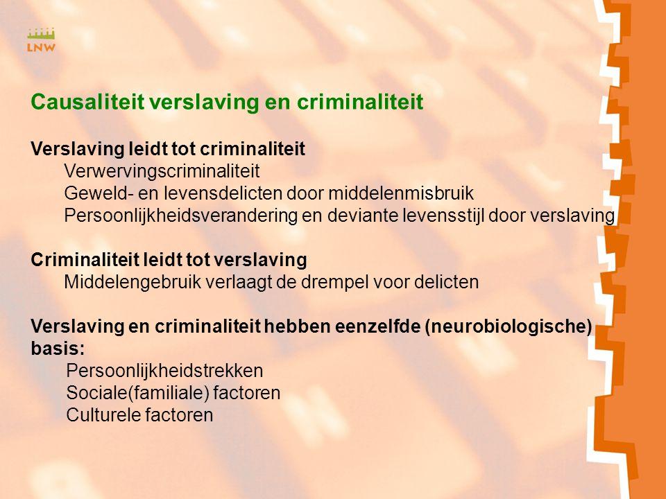 Causaliteit verslaving en criminaliteit Verslaving leidt tot criminaliteit Verwervingscriminaliteit Geweld- en levensdelicten door middelenmisbruik Pe