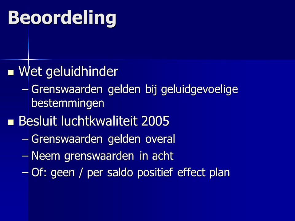 Beoordeling Wet geluidhinder Wet geluidhinder –Grenswaarden gelden bij geluidgevoelige bestemmingen Besluit luchtkwaliteit 2005 Besluit luchtkwaliteit
