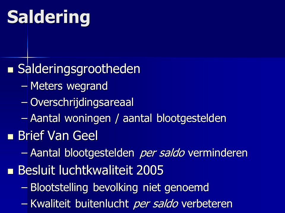 Saldering Salderingsgrootheden Salderingsgrootheden –Meters wegrand –Overschrijdingsareaal –Aantal woningen / aantal blootgestelden Brief Van Geel Bri
