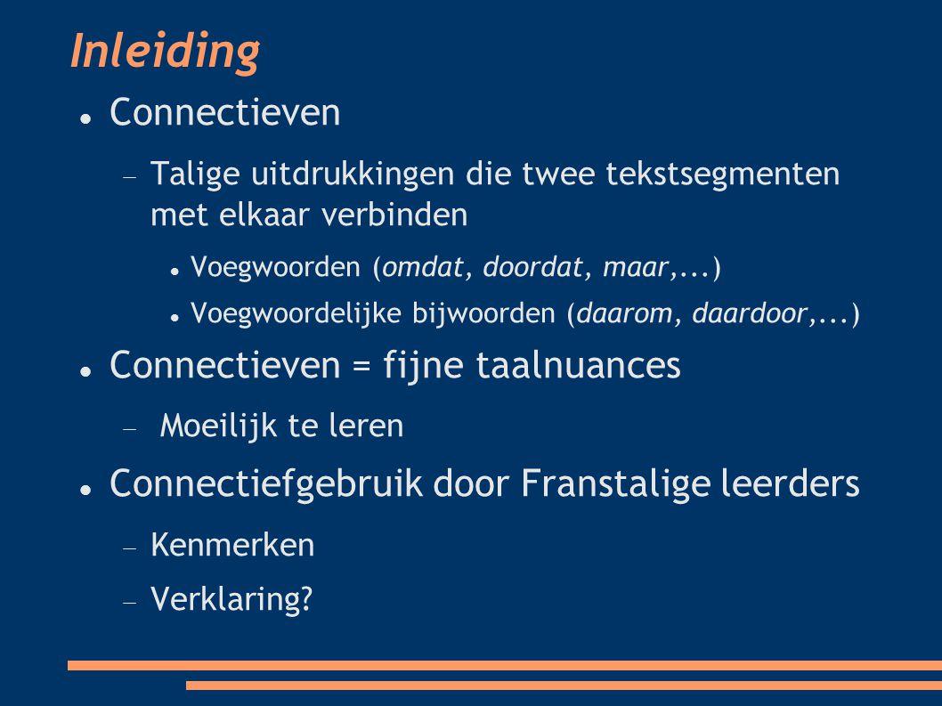 Kwantitatieve studie van het gebruik van contrastieve connectieven 3 observaties 1) Overgebruik van frequente connectieven 2) Ondergebruik van specifiekere connectieven 3) + evolutie met de studiejaren