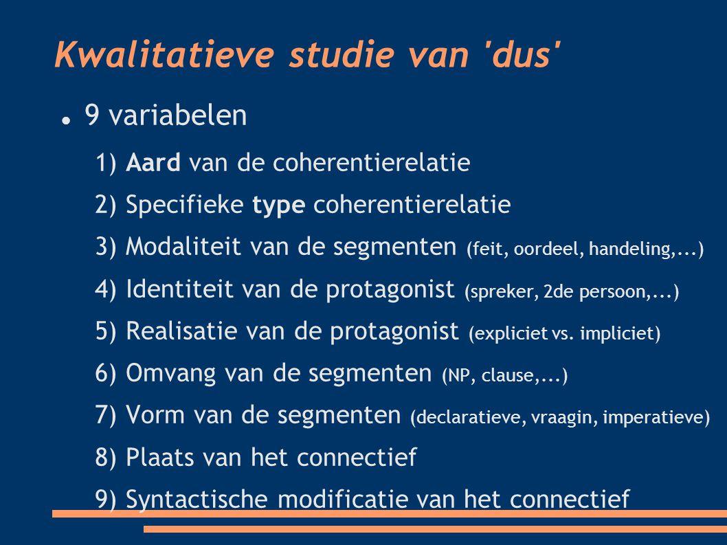 Kwalitatieve studie van dus 9 variabelen 1) Aard van de coherentierelatie 2) Specifieke type coherentierelatie 3) Modaliteit van de segmenten (feit, oordeel, handeling,...)  4) Identiteit van de protagonist (spreker, 2de persoon,...)  5) Realisatie van de protagonist (expliciet vs.