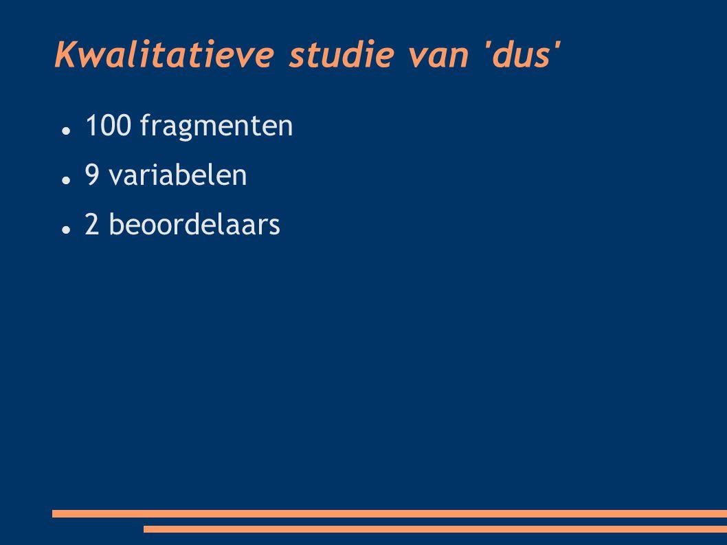 Kwalitatieve studie van dus 100 fragmenten 9 variabelen 2 beoordelaars