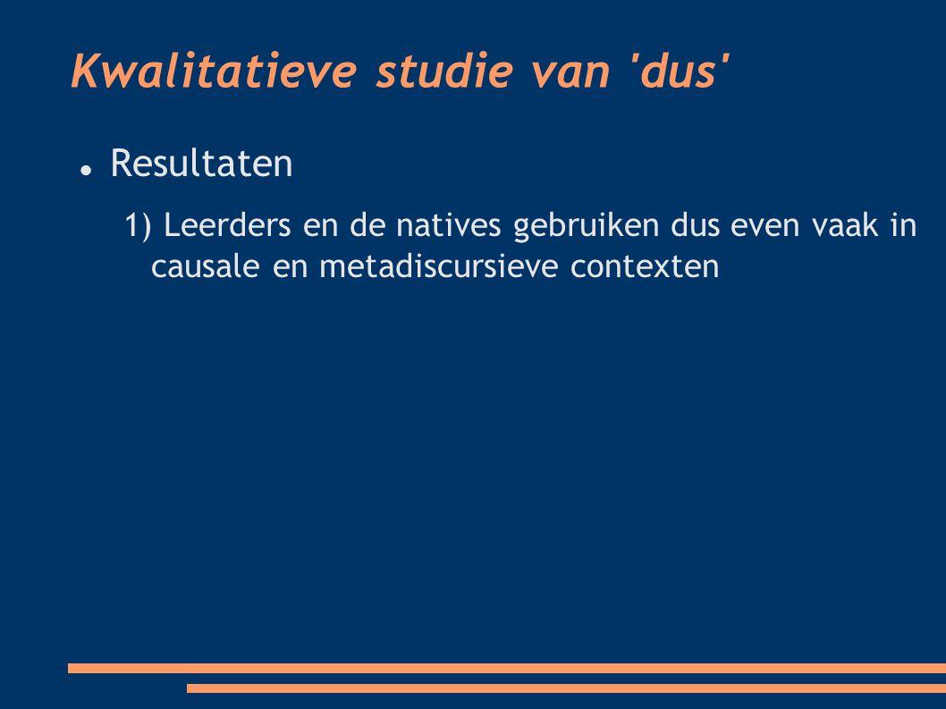 Kwalitatieve studie van dus Resultaten 1) Leerders en de natives gebruiken dus even vaak in causale en metadiscursieve contexten