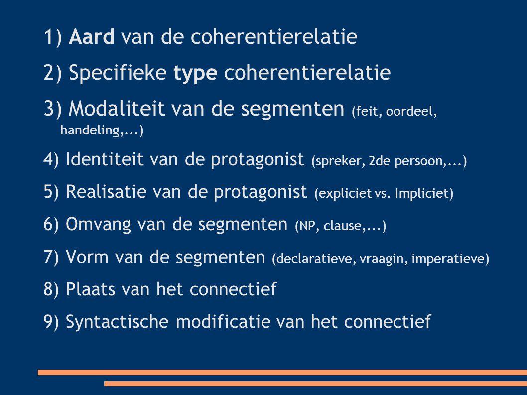 1) Aard van de coherentierelatie 2) Specifieke type coherentierelatie 3) Modaliteit van de segmenten (feit, oordeel, handeling,...)  4) Identiteit van de protagonist (spreker, 2de persoon,...)  5) Realisatie van de protagonist (expliciet vs.