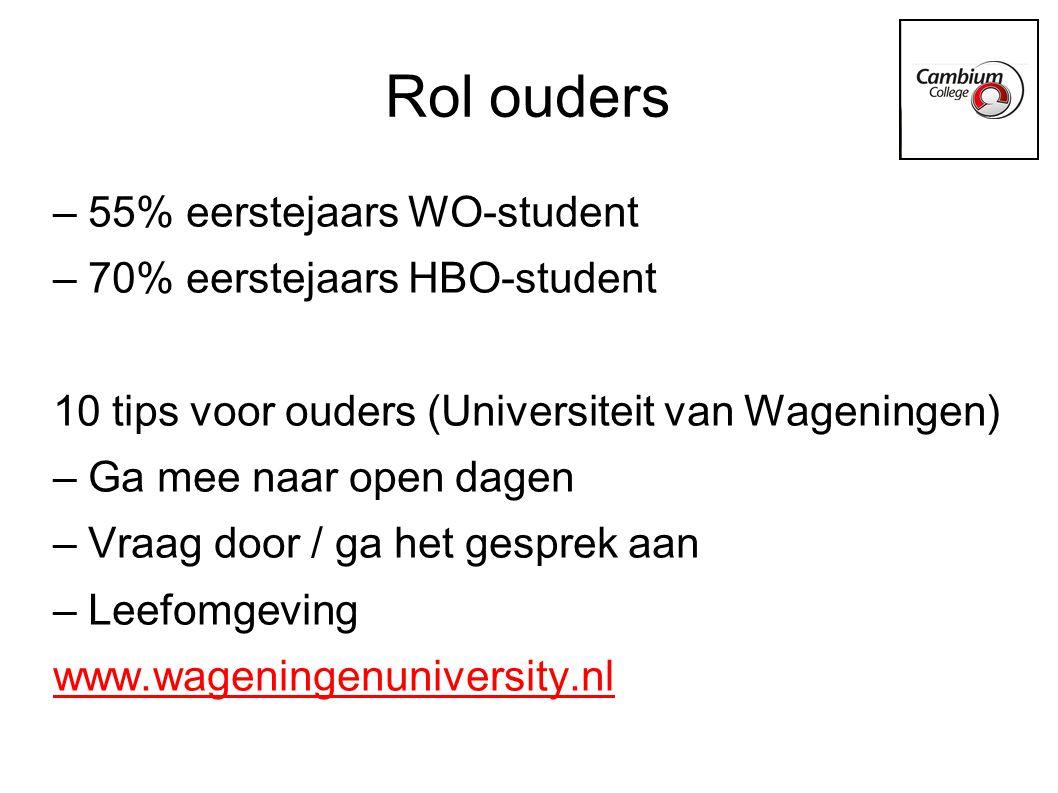 http://www.wageningenuniversity.nl Interessante downloads: -Mijn kind gaat studeren -Hoe ik mijn kind heb begeleid bij zijn studiekeuze -Hoe mijn ouders mij hebben begeleid bij mijn studiekeuze -10 tips voor ouders