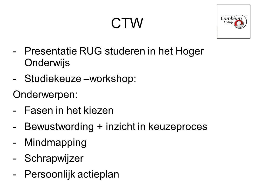 Handige sites www.wageningenuniversity.nl (presentaties) www.wageningenuniversity.nl www.fontys.nl (themabijeenkomsten + verschillen HBO/WO) www.fontys.nl www.studiekeuze123.nl (studiekeuzetesten/opendagenkalender) www.studiekeuze123.nl www.duo.nl www.cambiumh-v.dedecaan.net www.rijksoverheid.nl/onderwerpen/hoger- onderwijs/studiekeuze-en-toelating www.rijksoverheid.nl/onderwerpen/hoger- onderwijs/studiekeuze-en-toelating