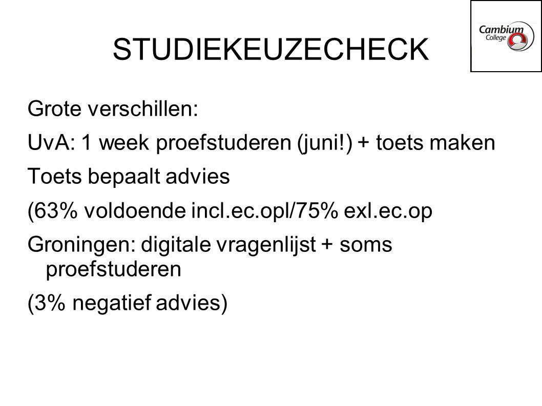 Decentrale selectie -Er zijn minimaal 2 criteria -Cijfers van VWO 5 zijn belangrijk -Online vragenlijst/motivatiebrief/essay/toets -Laat zien dat je gemotiveerd bent + weet wat de studie inhoudt + over juiste vaardigheden beschikt.