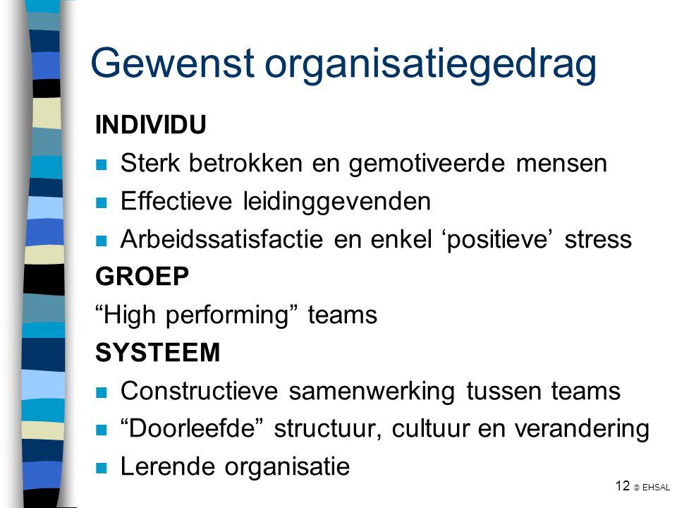12  EHSAL Gewenst organisatiegedrag INDIVIDU Sterk betrokken en gemotiveerde mensen Effectieve leidinggevenden Arbeidssatisfactie en enkel 'positieve