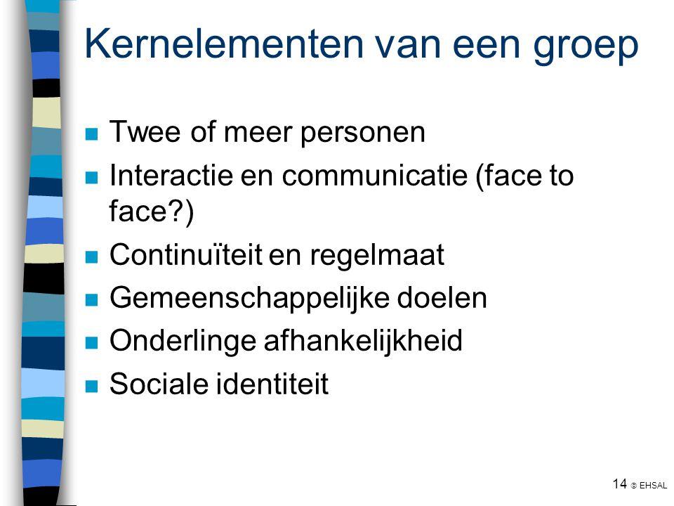 14  EHSAL Kernelementen van een groep Twee of meer personen Interactie en communicatie (face to face?) Continuïteit en regelmaat Gemeenschappelijke d