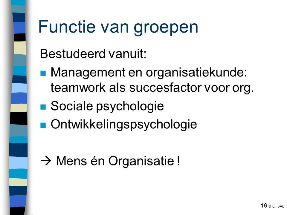 16  EHSAL Functie van groepen Bestudeerd vanuit: Management en organisatiekunde: teamwork als succesfactor voor org. Sociale psychologie Ontwikkeling