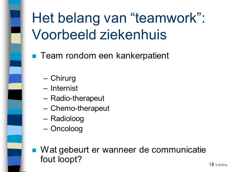 """18  EHSAL Het belang van """"teamwork"""": Voorbeeld ziekenhuis Team rondom een kankerpatient –Chirurg –Internist –Radio-therapeut –Chemo-therapeut –Radiol"""