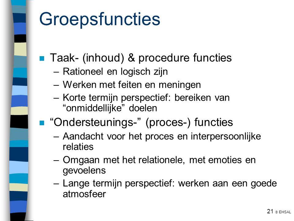21  EHSAL Groepsfuncties Taak- (inhoud) & procedure functies –Rationeel en logisch zijn –Werken met feiten en meningen –Korte termijn perspectief: be