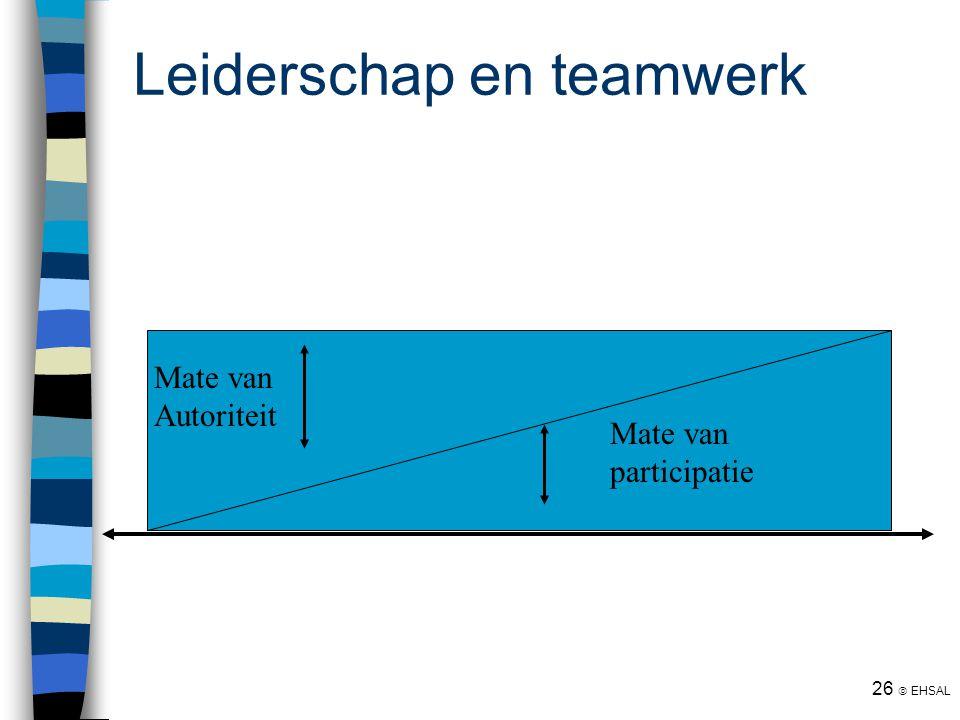 26  EHSAL Leiderschap en teamwerk Mate van participatie Mate van Autoriteit