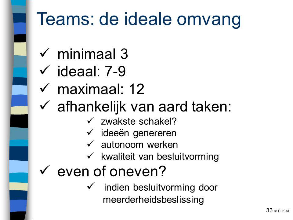 33  EHSAL Teams: de ideale omvang minimaal 3 ideaal: 7-9 maximaal: 12 afhankelijk van aard taken: zwakste schakel? ideeën genereren autonoom werken k