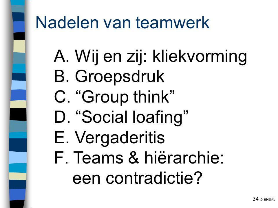 """34  EHSAL Nadelen van teamwerk  Wij en zij: kliekvorming  Groepsdruk  """"Group think""""  """"Social loafing""""  Vergaderitis  Teams & hiërarchie:"""