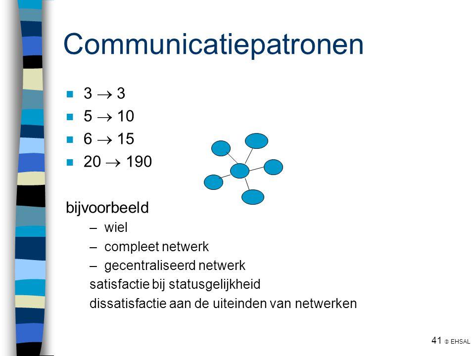 41  EHSAL Communicatiepatronen 3  3 5  10 6  15 20  190 bijvoorbeeld –wiel –compleet netwerk –gecentraliseerd netwerk satisfactie bij statusgelij
