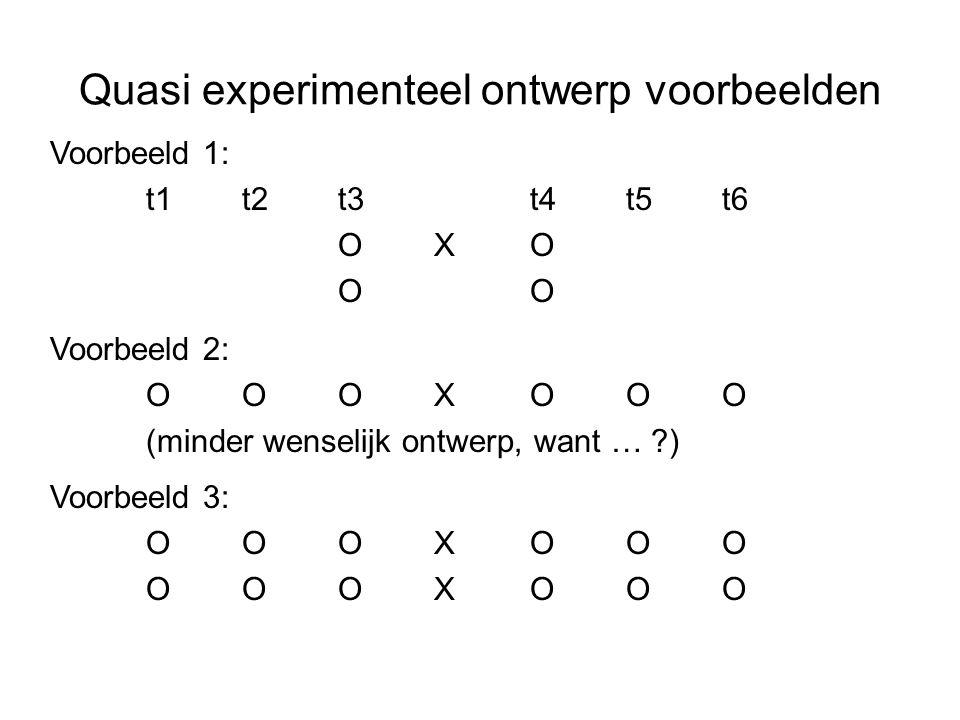 Quasi experimenteel ontwerp voorbeelden Voorbeeld 1: t1t2t3t4t5t6 OXOO Voorbeeld 3: OOOXOOO Voorbeeld 2: OOOXOOO (minder wenselijk ontwerp, want … ?)