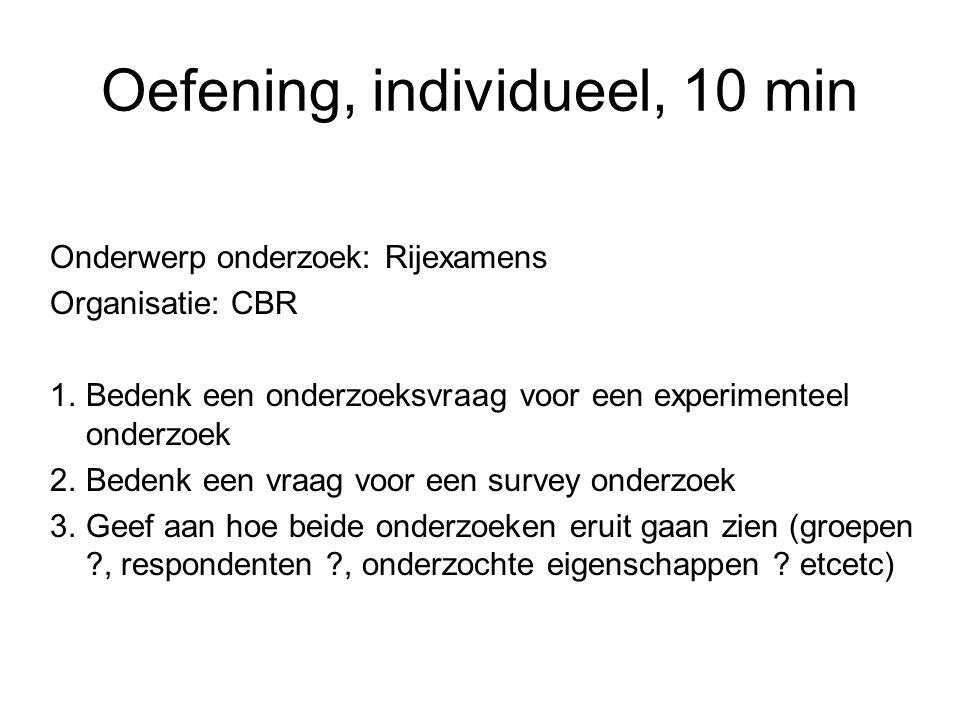 Oefening, individueel, 10 min Onderwerp onderzoek: Rijexamens Organisatie: CBR 1.Bedenk een onderzoeksvraag voor een experimenteel onderzoek 2.Bedenk