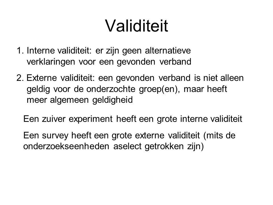 Validiteit 1.Interne validiteit: er zijn geen alternatieve verklaringen voor een gevonden verband 2. Externe validiteit: een gevonden verband is niet