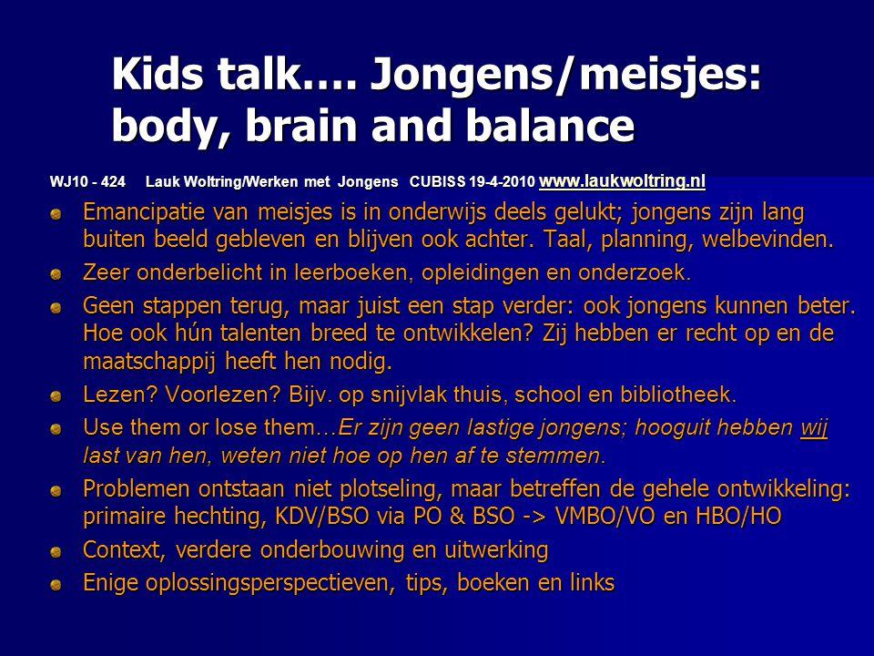 Kids talk…. Jongens/meisjes: body, brain and balance WJ10 - 424 Lauk Woltring/Werken met Jongens CUBISS 19-4-2010 www.laukwoltring.nl www.laukwoltring