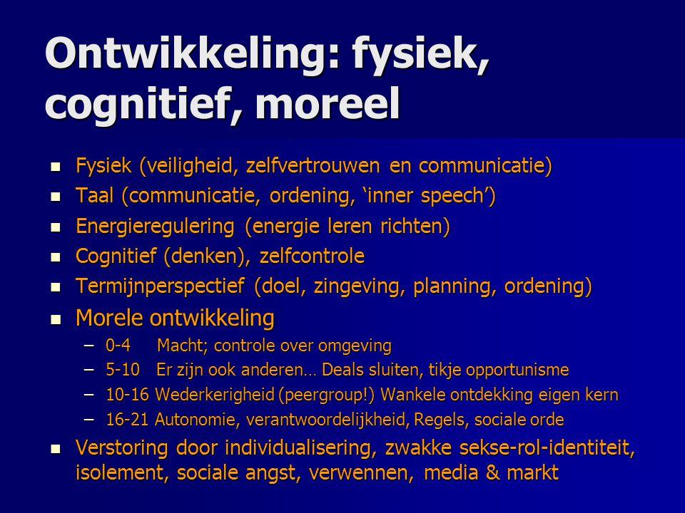 Ontwikkeling: fysiek, cognitief, moreel Fysiek (veiligheid, zelfvertrouwen en communicatie) Fysiek (veiligheid, zelfvertrouwen en communicatie) Taal (