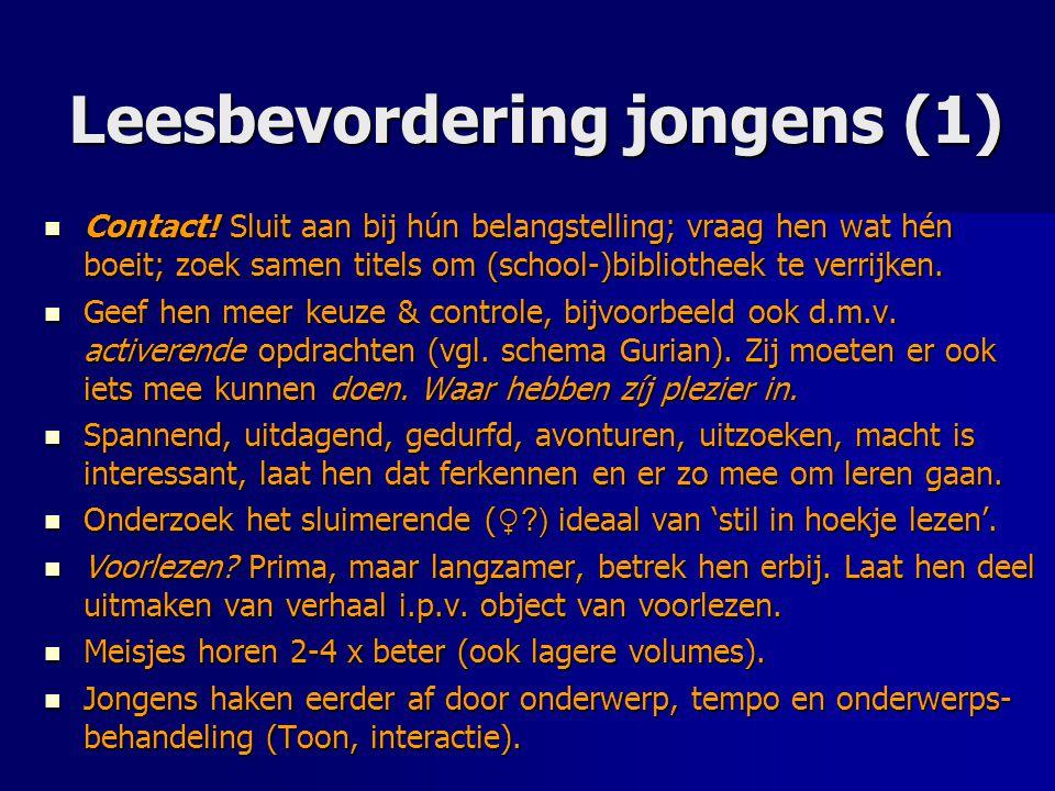 Leesbevordering jongens (1) Contact! Sluit aan bij hún belangstelling; vraag hen wat hén boeit; zoek samen titels om (school-)bibliotheek te verrijken