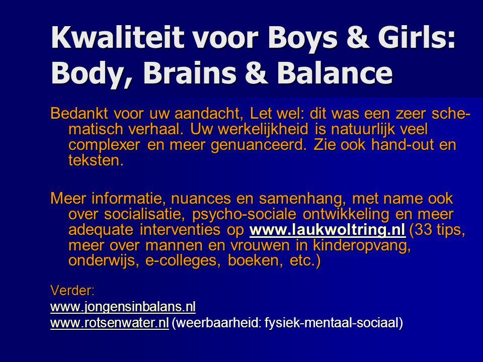 Kwaliteit voor Boys & Girls: Body, Brains & Balance Bedankt voor uw aandacht, Let wel: dit was een zeer sche- matisch verhaal. Uw werkelijkheid is nat