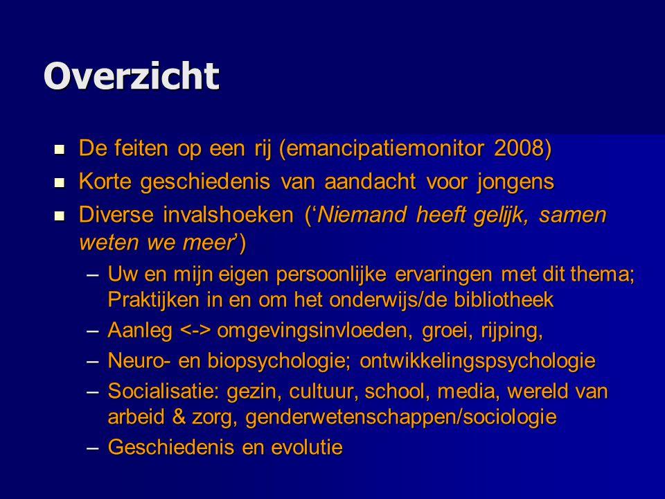 Overzicht De feiten op een rij (emancipatiemonitor 2008) De feiten op een rij (emancipatiemonitor 2008) Korte geschiedenis van aandacht voor jongens K