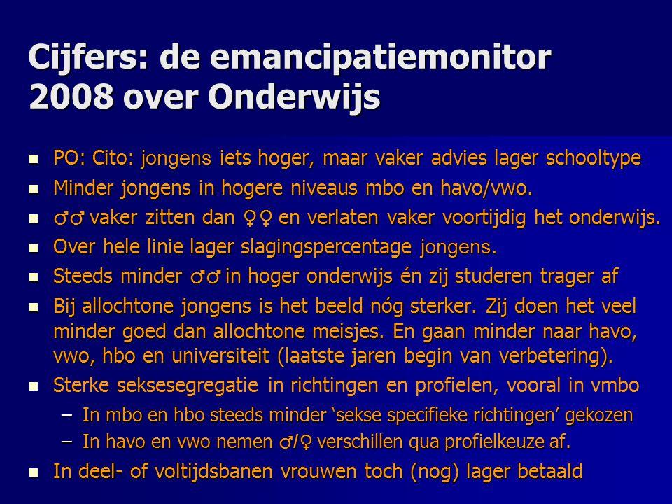 Cijfers: de emancipatiemonitor 2008 over Onderwijs PO: Cito: jongens iets hoger, maar vaker advies lager schooltype PO: Cito: jongens iets hoger, maar